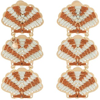 Mercedes Salazar Embroidered Shell Earrings