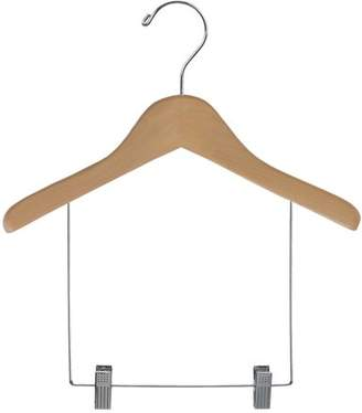 International Innovations Children's Wooden Display hanger with 6 inch Drop and Adjustable Clips, Contoured Hanger with Matte Natural Finish and Chrome Hook (Set of 12) by International Hanger