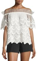 Alexis Abelli Off-the-Shoulder Lace Top, Cream