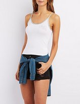 Charlotte Russe Embroidered Ringer Tank Top