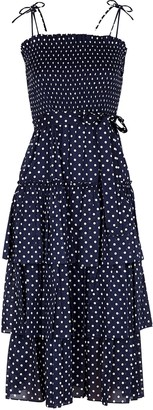 Tory Burch Polka-dot print ruffled cotton midi dress