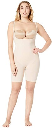 Spanx Thinstincts Open-Bust Mid-Thigh Bodysuit (Soft Nude) Women's Jumpsuit & Rompers One Piece