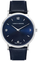 Larsson & Jennings Lugano 38mm Leather Watch Silver/Navy/Navy