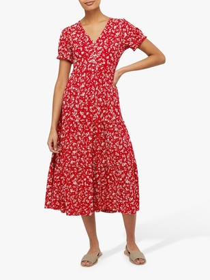 Monsoon Natty Ditsy Print Floral Dress, Red