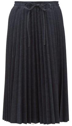 RED Valentino Pleated Denim Skirt - Womens - Dark Denim