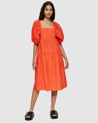 Topshop Women's Orange Midi Dresses - Tiered Poplin Midi Dress - Size 6 at The Iconic