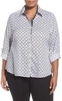 Foxcroft Plus Size Women's Diamond Interlock Wrinkle Free Shirt