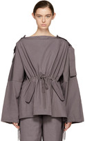 Craig Green Purple Slash Neck Hooded Blouse