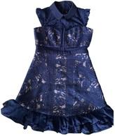 Three floor Fashion Blue Dress for Women