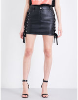 Lace Up Leather Skirt - ShopStyle