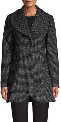 GUESS Plaid Fit-&-Flare Walker Coat