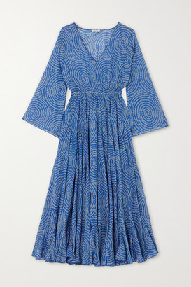 Rhode Resort Emily Printed Cotton-voile Midi Dress - Blue