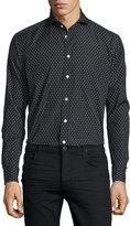 Eton Dot-Print Long-Sleeve Sport Shirt, Blue/White