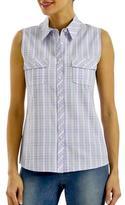 Haggar Women's Sleeveless Plaid Shirt