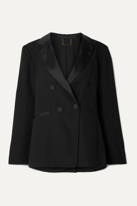 Frame Double-breasted Satin-trimmed Crepe Blazer - Black