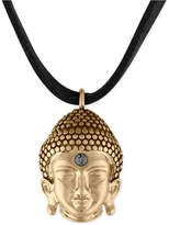 Rachel Roy Gold-Tone Buddha Black Suede Pendant Necklace
