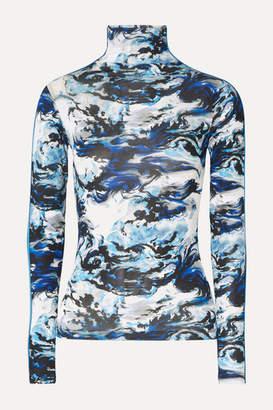 Kenzo Grosgrain-trimmed Printed Stretch-jersey Turtleneck Top - Navy