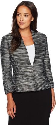 Kasper Women's Petite Size Metallic Tweed Flyaway Jacket