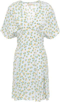 By Ti Mo Shirred Floral-print Crepe Mini Dress