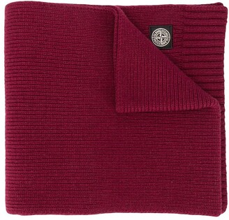 Stone Island Junior Logo Patch Knitted Scarf
