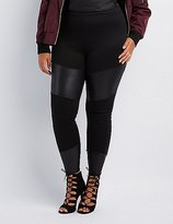 Charlotte Russe High-Rise Ponte & Faux Leather Leggings
