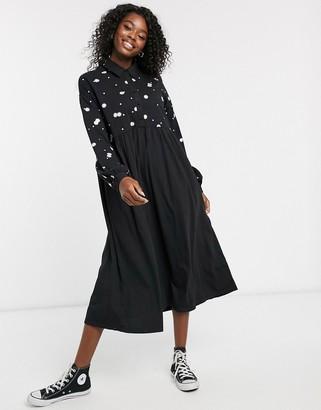 ASOS DESIGN embroidered shirt smock dress in black