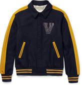 Valentino - Leather-appliquéd Felted Wool-blend Varsity Jacket