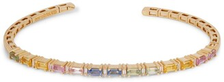 Suzanne Kalan Yellow Gold, Sapphire and White Diamond Pastel Fireworks Horizontal Bangle