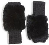 Jocelyn Women's Genuine Rabbit Fur Fingerless Knit Mittens