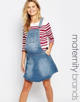 Mama Licious Mama.licious Mamalicious Denim Pinafore Dress
