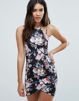 AX Paris Floral Asymmetric Hem Dress With Double Straps