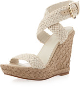 Stuart Weitzman Alex Crochet Wedge Sandal, Ivory