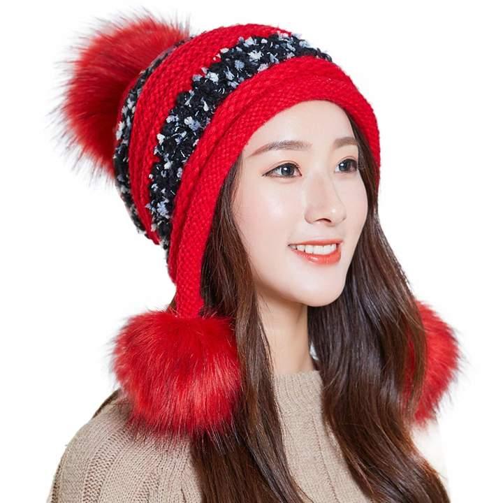 0c41068e1 HUAMULAN Women Skull Beanie Hat Peruvian Cap Winter Fleeced Ski Ear Flaps  Pompoms