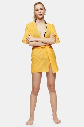 Topshop Womens Orange Tie Front Crop Top - Orange