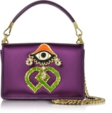 DSQUARED2 Purple Satin and Suede Shoulder Bag