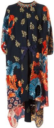 Biyan printed silk midi dress
