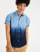 American Eagle Outfitters AE Dip Dye Short Sleeve Chambray Shirt