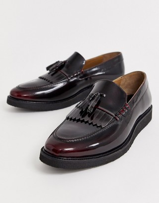 Walk London del tassel loafers in burgundy high shine-Red