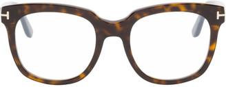 Tom Ford Tortoiseshell Blue Block Large Glasses