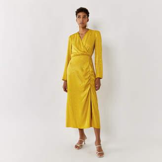 Warehouse WOODGRAIN RUCHE WRAP DRESS