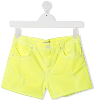 Pinko Kids TEEN distressed denim shorts