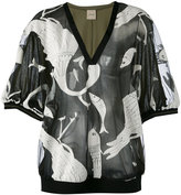 Nude animals print sheer blouse - women - Cotton/Polyamide - 44