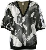 Nude animals print sheer blouse