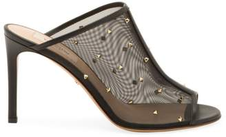 Valentino Garavani Studded Peep-Toe Leather & Mesh Mules