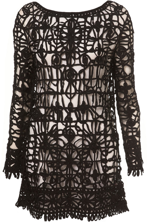 Topshop Petite Knitted Black Lace Dress