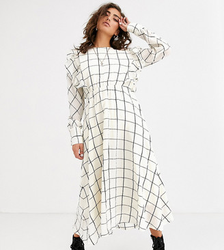 Object grid check midi dress with ruffle detail