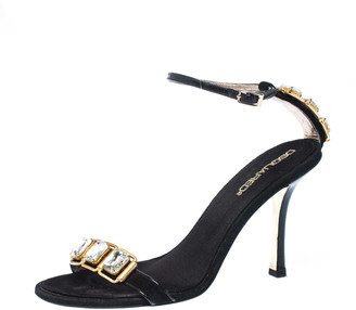 DSQUARED2 2 Black Suede and Leather Embellished Ankle Strap Sandals Size 38