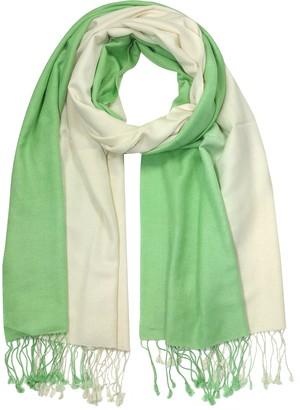 Forzieri Green/White Pashmina & Silk Shawl