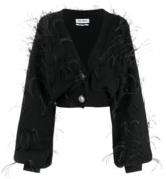 ATTICO Feather-Trimmed Cropped Cardigan