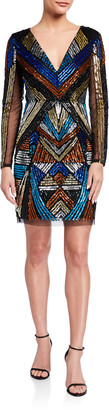 Aidan Mattox V-Neck Long-Sleeve Geometric-Beaded Cocktail Dress